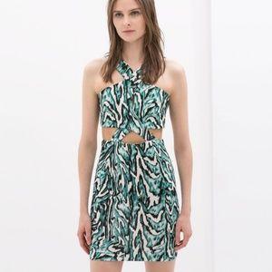 Zara X Cross Strap Cutout Mini Dress Abstract Patt
